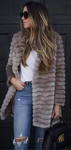 #winter #outfits brown long coat, white shirt, ripped jeans