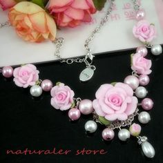 Florid-Pink  Flower Rose  Pearl  Necklace - Polymer Clay Necklace