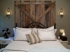 Master Bedroom Makeover:Cedar planks nailed together with cross planks = DIY…