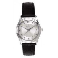 Bulova Corporate Collection Women's Leather Strap Round White Dial Watch