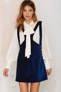 Nasty Gal Day Tripper Velvet Jumper Dress     <>   @kimludcom