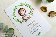 pihippie - recordatorios de comunión y bautizo personalizados Place Cards, Place Card Holders, Drawings, Scrapbooking, Ideas, Personalized Stationary, Communion Invitations, Signature Book, Sketches