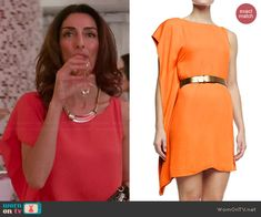 Delia's orange side ruffle dress on Girlfriends Guide to Divorce.  Outfit Details: http://wornontv.net/44421/ #GG2D