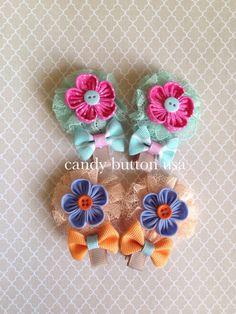 Broche azul naranja bebé broche broche recién por candybuttonusa