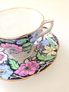 Vintage English Rosina Tea Cup and Saucer Tea by MariasFarmhouse, $49.00