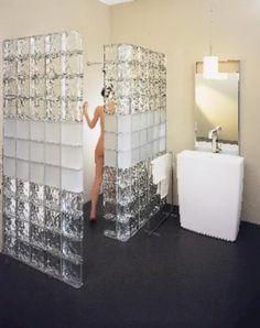 Amazing Glass Brick Shower Division Design Ideas - Page 6 of 41 - Farhah Decor Glass Blocks Wall, Block Wall, Glass Block Shower, Ideas Baños, Glass Brick, Modern Bathroom Design, Small Bathroom, Bathroom Ideas, Inspiration