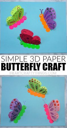 Learn how to make this simple paper butterfly craft. It's a simple and colorf. - Learn how to make this simple paper butterfly craft. It's a simple and colorful spring craft t - Paper Butterfly Crafts, Paper Butterflies, Flower Crafts, Toddler Crafts, Preschool Crafts, Kids Crafts, Craft Activities, Easter Crafts, Spring Crafts For Kids
