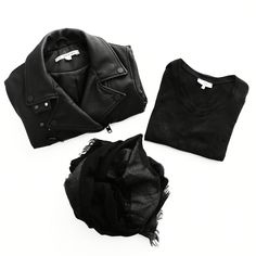Flat lay. All Saints Jacket, Iro Paris Tee, Marc Jacobs Scarf. #flatlay. - OVRSLO