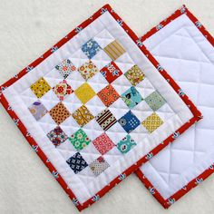 Quilted Pot Holders  Vintage Look Hot Pads  set by TwiggyandOpal, $18.00
