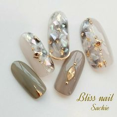 Herbst / Party / Frauenverein / Hand / Shell-Bliss iss Sachi Nageldesign - - New Ideas Asian Nails, Korean Nails, Japanese Nail Design, Japanese Nails, Beautiful Nail Art, Gorgeous Nails, Cute Nails, Pretty Nails, Japan Nail Art