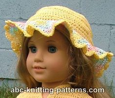 American Girl Doll Buttercup Hat pattern by Elaine Phillips