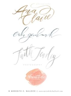 Watercolor logos, lettering and calligraphy by Meredith C. Bullock || http://www.meredithcbullock.com
