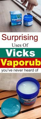 These Vicks vaporub uses are here to SURPRISE you. You& never thought abou. These Vicks vaporub uses are here to SURPRISE you. You& never thought about that Vicks can be that useful! Vicks Vaporub, Vicks Vapor Rub Uses, Uses For Vicks, Vicks Rub, Uses For Vapor Rub, Vapo Rub Uses, Vicks Vapor Rub Ingredients, 2 Ingredients, Herbal Remedies