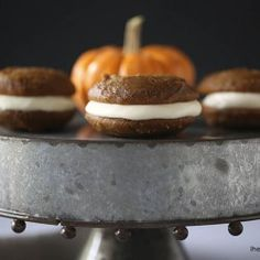 Pumpkin whoopie pies with maple frosting on iheartnaptime.com