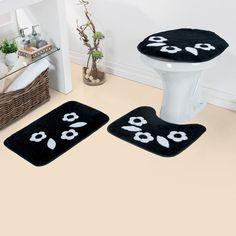 Jogo de Tapetes de Banheiro Margarida 510 Duda tapetes - Preto - Banheiro no Pontofrio.com