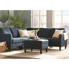 Breakwater Bay Bayard Right Hand Facing Modular Sectional with Ottoman Sectional Ottoman, Corner Sectional, Chaise Sofa, Sleeper Sectional, Living Room Designs, Living Spaces, Living Rooms, Faux Leather Sofa, Comfortable Couch