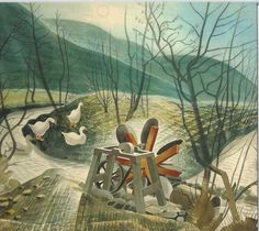 """""""The Waterwheel by Eric Ravilious 1938 ( Capel-y-ffin, Powys. The waterwheel was used to power a grindstone for knife-sharpening. Art And Illustration, David Hockney, Landscape Art, Landscape Paintings, Landscapes, John Minton, Queen Art, Painting & Drawing, Garden Painting"""