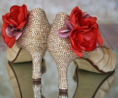 250da318f95e Pale gold peep toe bling wedding shoes with pink and coral handmade flowers  on the ankle -- custom designed and bride inspired by Ellie Wren Custom  Wedding ...