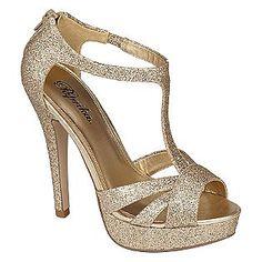 Paprika Womens Jiffy Glitter T-Strap - Gold