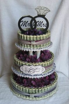 money cakes from creative creations by mc is a great unique and fun way to give a sweet treat Wedding Gifts For Bride And Groom, Best Wedding Gifts, Diy Wedding, Wedding Cakes, Wedding Day, Origami Gifts, Money Origami, Original Wedding Gifts, Mrs Ring