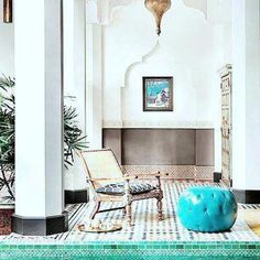 Tiled pool area of a Moroccan style estate in Palm Desert, CA.