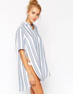 Beach shirt by ASOS Collection Lightweight, woven fabric Point collar Concealed button placket Side splits Oversized fit - falls generously over the body Machine wash Viscose, Polyester, Cotton Oversized White Shirt, Best Swimsuits, Beach Shirts, Swimsuit Cover Ups, Beachwear For Women, Stylish Outfits, Stylish Clothes, Lounge Wear, My Style