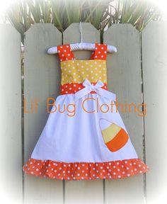 Candy Corn Jumper Dress Yellow and Orange Polka Dot via Etsy.