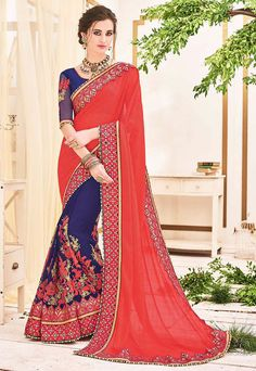 Picturesque Purple and Coral Pink Saree