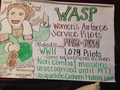 Women's Air Force service pilots. WASP Anchor Chart. 2nd grade.