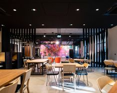 The Frames Office by Squire & Partners – Office Snapshots, - commercial office interior o Brick Columns, Furniture Dining Table, Bespoke Design, Color Tile, Commercial Interiors, Concrete Floors, Ceiling Design, Upholstered Chairs, Office Interiors