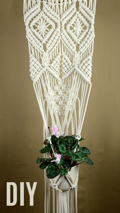 #DIY Macrame Plant Hanger Wall Hanging #Tutorial #Macrame #PlantHanger #WallHanging #ForFlowers #WallDecor #HomeDecor #InteriorDesign