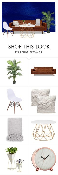 """Living Room"" by ginnybop on Polyvore featuring interior, interiors, interior design, home, home decor, interior decorating, Nearly Natural, Gus* Modern, Thro and Umbra"