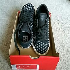Women's Nike Tennis Classic AC Woven Black & Ivory pattern Nikes Nike Shoes Athletic Shoes