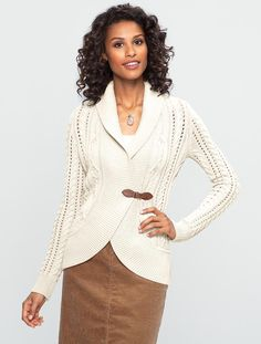 Talbots - Cable Shawl-Collar Cardigan | | Misses