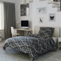 Krepové povlečení bílé černé ornament orient zdobné Comforters, Couch, Blanket, Bed, Furniture, Design, Home Decor, Chair, Creature Comforts
