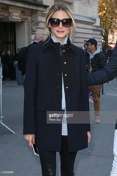 Olivia Palermo arrives at the Moncler Gamme Rouge show as part of the Paris Fashion Week Womenswear Spring/Summer 2017 on October 5, 2016 in Paris, France.