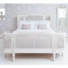 Provencal Lit Lit White Rattan Bed from The French Bedroom Company. Shop more products from The French Bedroom Company on Wanelo. White Wicker Bedroom Furniture, Bedroom Furniture Design, French Furniture, Kitchen Furniture, Custom Furniture, Furniture Ideas, Bedroom Decor, Furniture Websites, Inexpensive Furniture