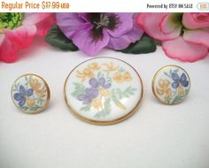 Vintage Round Porcelain Ceramic Iris Brooch by ALEXLITTLETHINGS