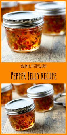 Pepper Jelly Recipe (Sweet or Hot Pepper Jelly Recipe takes to make and this one has three colours of peppers for a festive and sparkly jelly that you can keep sweet, or heat it up. - Pepper Jelly Recipe (Sweet or Hot) Jalapeno Jelly Recipes, Pepper Jelly Recipes, Hot Pepper Jelly, Banana Pepper Jelly, Canning Pepper Jelly, Jalapeno Pepper Jelly, Canning Peppers, Jalapeno Jam, Sauces