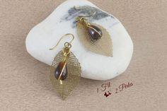 Boucles d'Oreille Perle Goutte couleur Ambre Breloque Estampe Feuille Laiton - Perle de Verre Wire Wrapping - Cadeau : Boucles d'oreille par 1-fil-2-perles