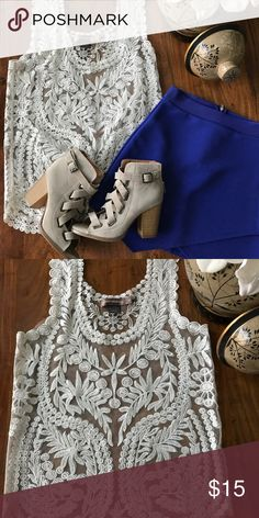 Sheer embroidered top Silver top Tops Blouses