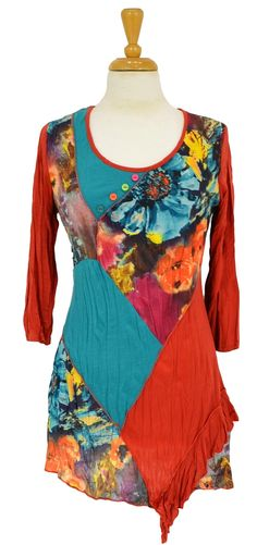 Blue Floral Patch Tunic @ilovetunics.com