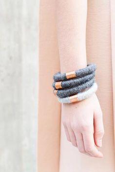 woolen stack bracelets with copper