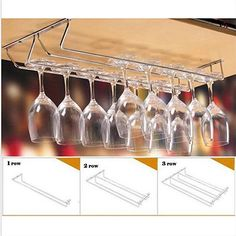 Stainless Steel Cabinet Wine Glass Rack Kitchen Dining Bar Goblet Holder Hanger