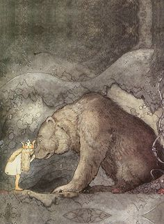 She kissed the bear on the nose (c. 1910 by John Bauer) (great illustrations of night time magic) Children's Fairy Tale Illustrator