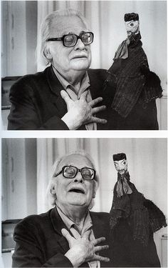 Felix Klee with his father, Paul Klee's hand puppet