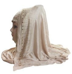 Beige Colour Lycra (Stretchable) Headscarf For Daily Wear. Latest 2017 Saudi Arabia Wear Design Headscarf With Golden Stone Work. Fabric Of Headscarf (Niqab) is Hosiery Cotton (Stretchable Lycra). Length Of The Headscarf 69 Inch ( 175 cm) & Width Of Headscraf 29 Inch ( 74 cm). All Design & Stone Work Will Be Same As Shown in Images. Attractive Beautifull Headscraf (Dupatta) For Casual Wear, Daily Wear, Party Wear, Islamic Wear Etc.