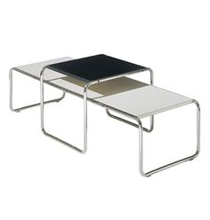 As a Bauhaus apprentice in Marcel Breuer conceived the low table as a companion to the Wassily chair, the first tubular steel design based on the tubed frame of a bicycle. Furniture Styles, Table Furniture, Vintage Furniture, Modern Furniture, Furniture Design, Nice Furniture, Marcel Breuer, Design Bauhaus, Bauhaus Style