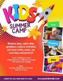 Kids Summer Camp Poster Flyer Template Summer Camp Summer Fun