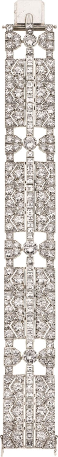 Art Deco Diamond, Platinum Bracelet, Fontana, French